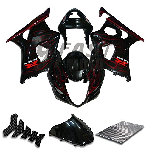 03 Motorcycle Fairing Kit - 9FastMoto Fairings for suzuki 2003 2004 K3 GSXR1000 GSXR 1000 03 04 GSX R1000 K3 Motorcycle Fairing Kit ABS Injection Set Sportbike Cowls Panels (Black & Red) S0123