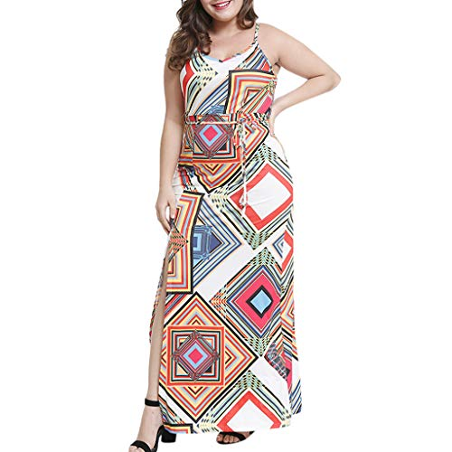 Floral Maxi Dresses For Women's Casual O- neck Bohemian Printed Sling Waist Belted Long Skirt Dress For Anniversary,Party,Valentines Day ()