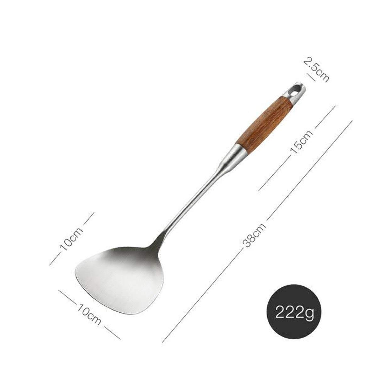 TONGBOSHI Stainless steel spatula Home kitchen wooden handle insulated cooking shovel Kitchenware fried shovel,3810cm, best gift (Size : 3810cm) by TONGBOSHI (Image #2)
