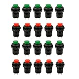 HONBAY 20 Pcs 1.2inch Thread Green & Red Cap SPST Latching Type Push Button Switch OFF-ON