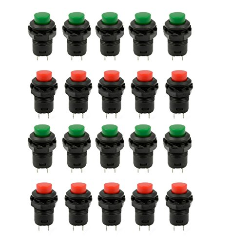 HONBAY 20 Pcs 1.2inch Thread Green & Red Cap SPST Latching Type Push Button Switch OFF-ON (On Off Push Button Switch)