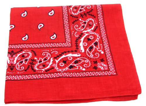 100% Cotton Double Sided Print Paisley Bandana Scarf, Head Wrap - Red, 22
