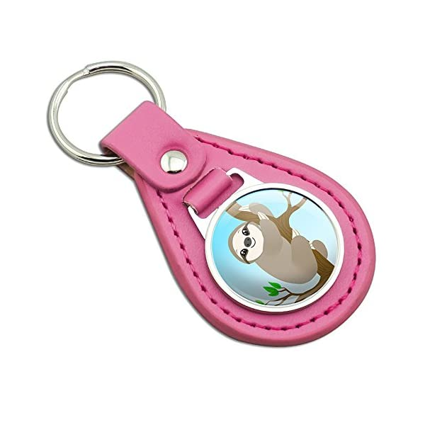 Sloth Just Hanging Around Pink Leather Metal Keychain Key Ring -
