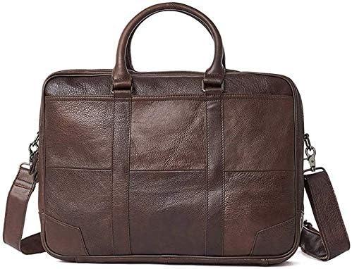 メンズメッセンジャーバッグ、ヴィンテージサッチェルショルダーバッグ取り外し可能なストラップ付き15インチクロスボディバッグ用レザーラップトップバッグ(色:ブラウン)