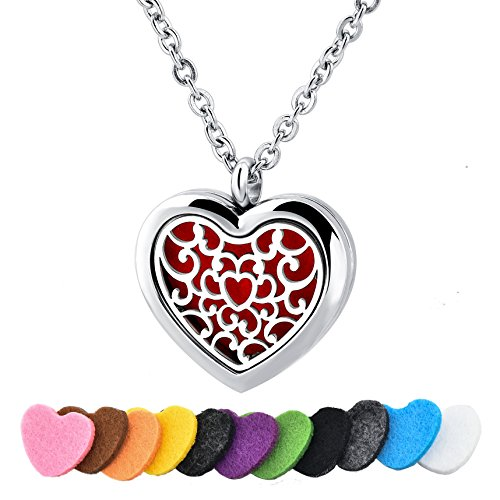 Long Way Stainless Steel Essential Oil Diffuser Necklace Air Freshener Aromatherapy Locket Pendant Necklace with Chain&Pads (Love of Flower)