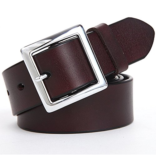 Ayli Women's Jean Belt, Square Buckle Handcrafted Genuine Leather Belt, Free Gift Box, Coffee, Fits Waist 26