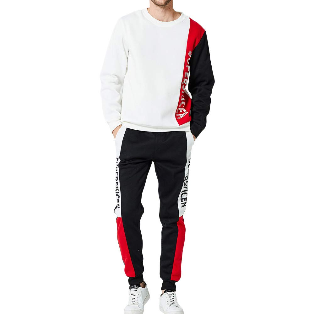 SFE-men's shirt Mens Patchwork Sweatshirt Pullover Long Sleeve Tops Blouse Pants Sets Sports Suit Tracksuit