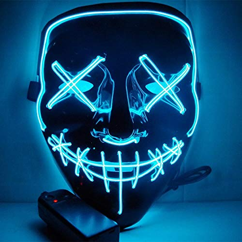 LED Mask Halloween Party Mask Masquerade Mask Neon Maske Light Glow in Dark Mascara Horror Maska Glowing Mask Clear, Ice blue