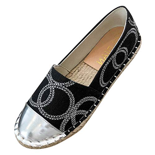 Tantisy ♣↭♣ Women's Casual Comfy Loafer Shoes Weave Sole Chic Slip-on Flat Shoes Print Canvas Shoes Black
