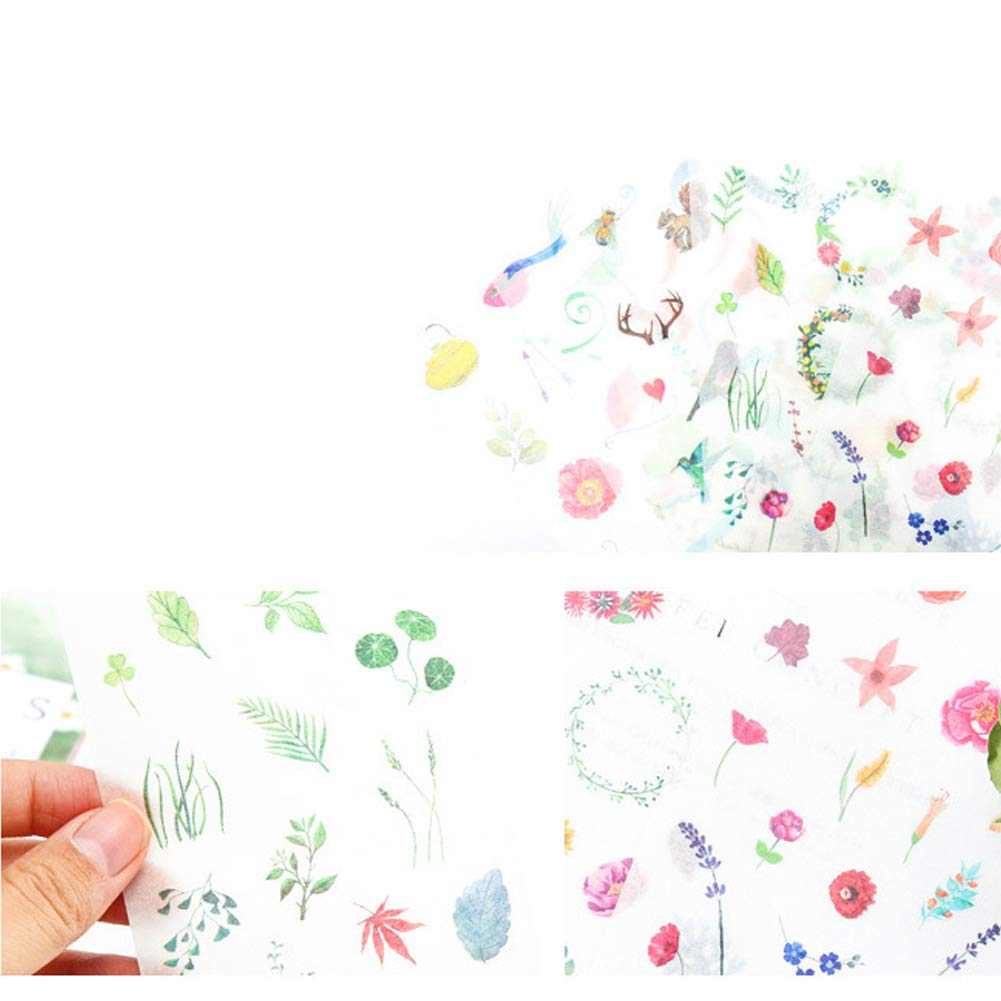 3 Set Fresh Floral Summer Green Plants Leaf Flower Tree Branches Stationery Sticker Scrapbooking Planner Journal Diary DIY Decorative Label Craft Stickers for Kids Boys Girls 18 Sheet Summers Gift