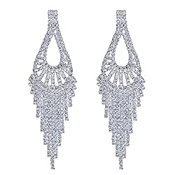 Silver Tassels-1 Earring With Sparkling Rhinestone