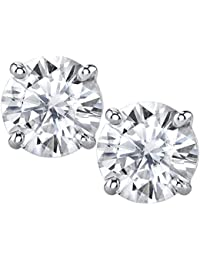 6mm Forever Classic Moissanite Set in Solid 14k Gold 4 Prong Screw Back Stud Earrings (1.36cttw Moissanite, 1.60ct DEW, Near Colorless)