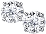 Charles & Colvard 6mm Forever Classic Moissanite Set in Solid 14k White Gold 4 Prong Screw Back Stud Earrings (1.36cttw Moissanite, 1.60ct DEW, Near Colorless)