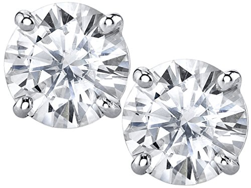Charles & Colvard 6mm Forever Classic Moissanite Set in Solid 14k White Gold 4 Prong Screw Back Stud Earrings (1.36cttw Moissanite, 1.60ct DEW, Near Colorless) (Diamonds Moissanite)