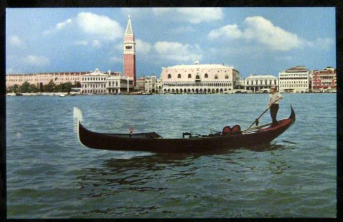 (Italy, Venice, View from Gondola Postcard c1950.)