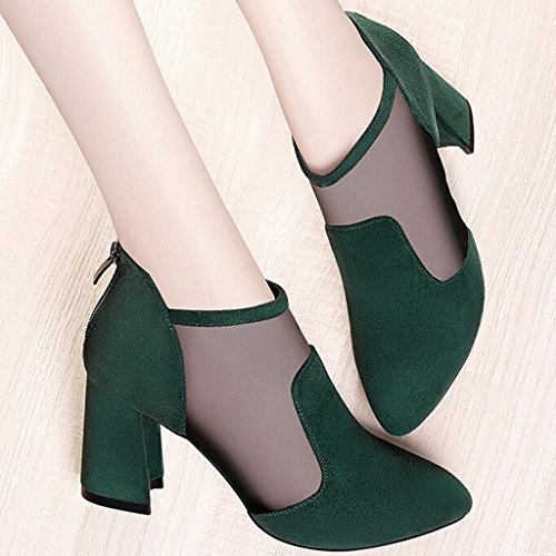 Mesh Leisure Green PU Upper High Sandals Thick Type Spring Round Heel Head Breathable Zipper Heels BwnfaXq