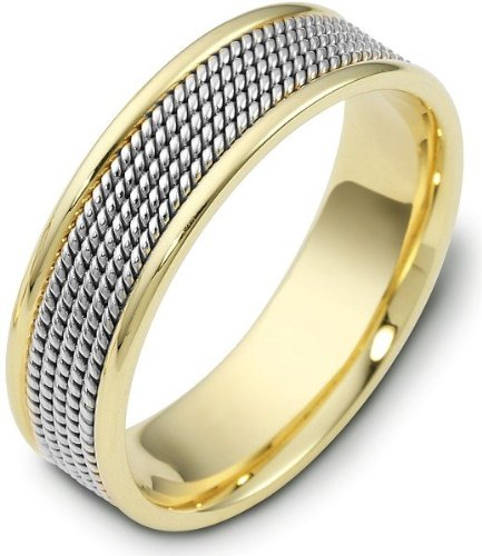 - 18 Karat 7mm Titanium & Yellow Gold Wedding Band Ring - 4.25