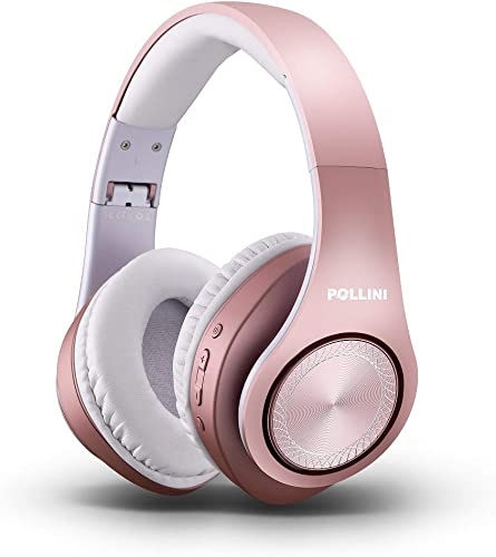 Bluetooth Headphones Over Ear, Pollini Wireless Headset V5.0 with Deep Bass, Soft Memory-Protein Earmuffs and Built-in Mic for iPhone Android Cell Phone PC TV Rose Gold