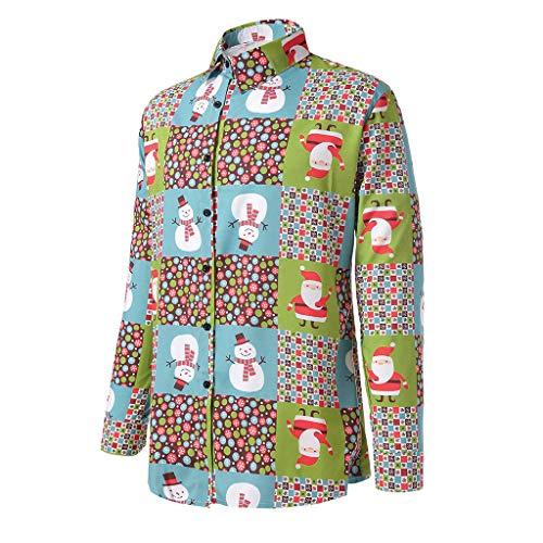 St.Dona Men's Christmas Dress Shirt Long Sleeve T-Shirt Xmas Print Party Casual Button Down Shirts for Men -