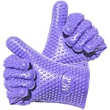 Cooking Gloves Heat Resistant By MGE Chef- Silicone High Quality - One-size-fits-all Design - 1 Pair - Purple