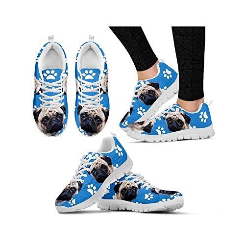 Dog Women's Pug Print Print White Casual Paws Shoes Running Shoetup qaBtxwXOEO