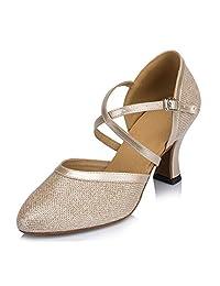 Doris Womens Mid Heel Round Toe UP Leather Salsa Tango Ballroom Latin Wedding Party Dance shoes
