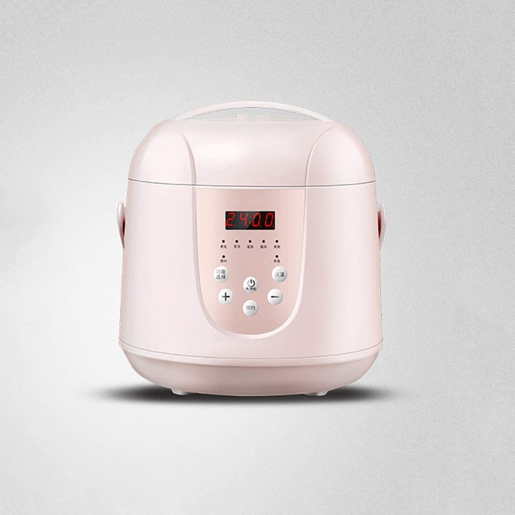 Rice Cooker 2.0L Multi-function Rice Cooker,Mini Rice Cooker,Slow Cooker,Steamer,Yogurt Cake Maker and Warmer, Fast Cooking for Home Kitchen(2-4 People) (Color : Pink)
