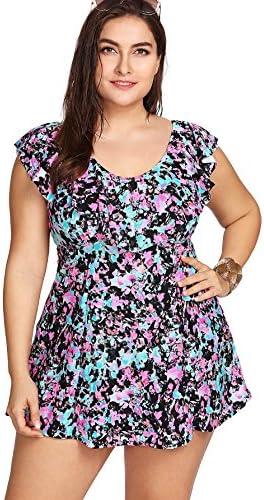 18e0f277fc847 SweatyRocks Women's Plus Size One Piece Swimwear V Neck Modest Flounce  Falbala Slimming Swim Dress
