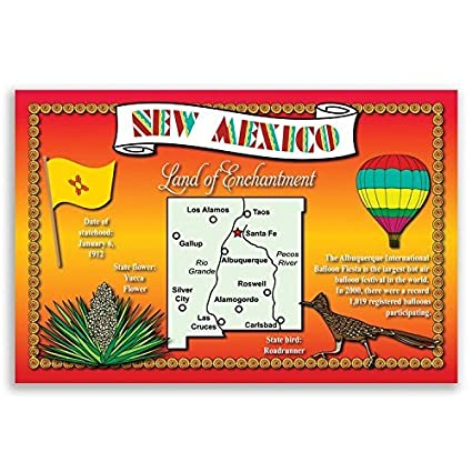 NEW MEXICO STATE MAP postcard set of 20 identical postcards  Post cards  with NM map and state symbols  Made in USA