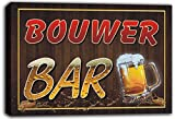 scw3-103245 BOUWER Name Home Bar Pub Beer Mugs Cheers Stretched Canvas Print Sign