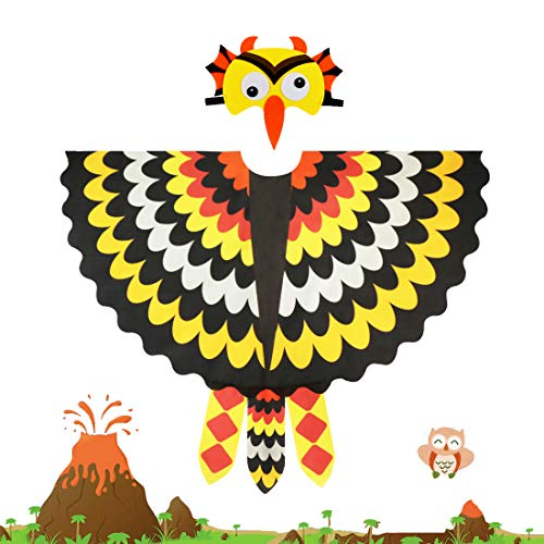 Kids Fairy Owl Costume Bird Wings Feathered with Mask - Boys Girls Animal Dress-up Cosplay Cape (#2 Yellow-Black) -