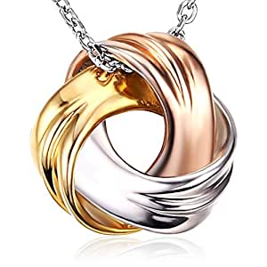 "J.Rosée Jewelry Sterling Silver Pendant Necklace ""Spiral Galaxy"" Tricolor Necklace Exquisite Gift Package (45cm+3)"