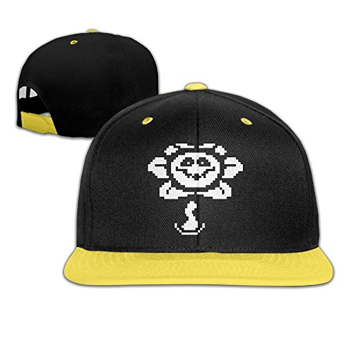 sunny-fish6hh-unisex-adjustable-undertale-flowey-hiphop-baseball-caps-hat-for-kids-teenager-yellow