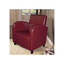 Monarch Specialties Leather-Look Accent Chair, Burgundy