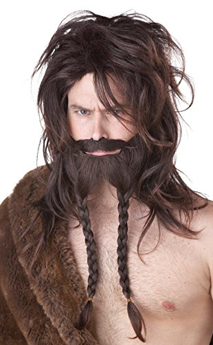 [California Costumes Women's Viking Wig Beard and Moustache, Brown, One Size] (Barbarian Warrior Costume)