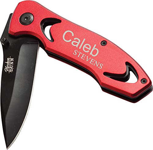 Laser Engraved Personalized Anodized Lock-back Pocket Knife with Clip (Red)