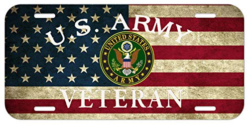 XiongYe Chen - Placa de matrícula de Aluminio para Coche, diseño de la Bandera del ejército Estadounidense de EEUU,...
