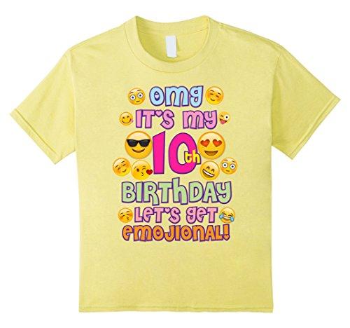 Birthday Yellow T-shirt (Kids Emoji Shirt For Girls Birthday 10 Ten Year Old Emoji Fun 10 Lemon)