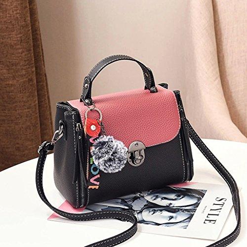 Bolso Femenino Messenger Bag Bolso de Hombro Simple Femenino Pequeño Bolso Messenger Pink Black