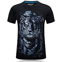 Men's 3D Tiger Printed Short Sleeve O Neck Plus Size Homme T-shirt