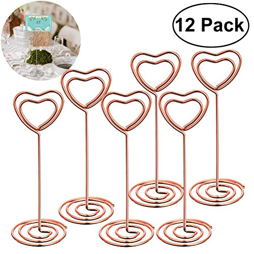 BESTONZON 12 Pcs Rose Gold Heart Shape Photo Holder Stands,Suitable for Table Number Card Menu,pecfect for Weddings