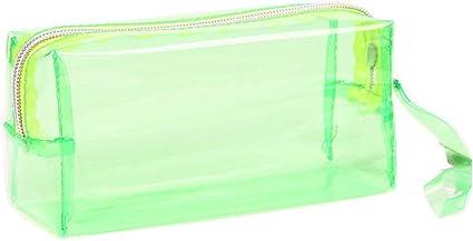 Luckyrainbow, estuche transparente para maquillaje, bolsa de aseo de color caramelo puro, estuche para lápices, estuche de viaje para niñas, color Green,Large 195 * 60 * 90MM: Amazon.es: Oficina y papelería