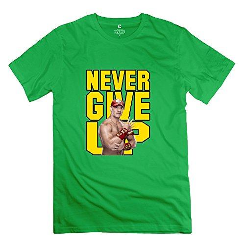 CHADLAVIGNE 100% Cotton Men's WWE Never Give John Cena T-shirt