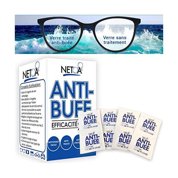 Netoa ® – Paquete de 120 toallitas antivaho para todo tipo de lentes, gafas graduadas, de sol, de natación, máscaras de buceo, prismáticos, ideales contra el vapor y el vaho 2