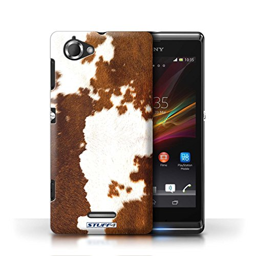 Etui / Coque pour Sony Xperia L/C2105 / Vache/Brown conception / Collection de Motif Fourrure Animale