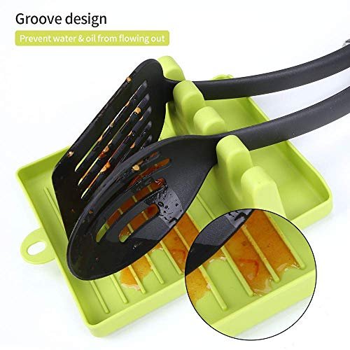 CASESHIP 2PCS Spoon Rests for Kitchen, Non-slip Heat Resistant Kitchen Utensil Spoon Holder for Stove Top Kitchen Gadgets Utensil Holder for Home Use Stove Spoon Rest with 4PCS Hooks