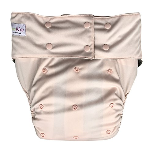 EcoAble Incontinence Cloth Diaper with Insert Pad, Teen & Adult One Size (Tan)
