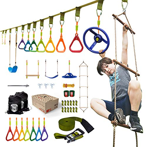 HAPPYPIE Ninja Warrior Obstacle Course with 11 Accessories for Kids - 46FT Ninja Slackline Kit Training Equipment for Backyard Outdoor