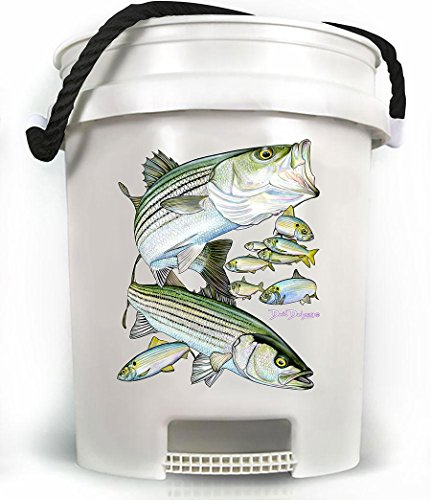 (TackleDirect TDSBWHT 5 Gallon Bucket Striped Bass White w/Black Rope Handle)