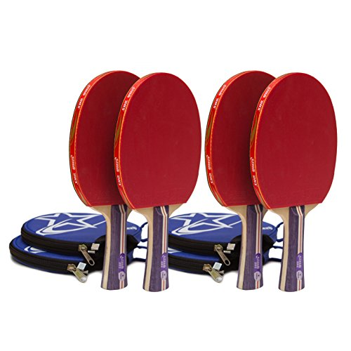 JoyNFun Competition Grade Ping Pong Paddles Set with Padded Storage Cases